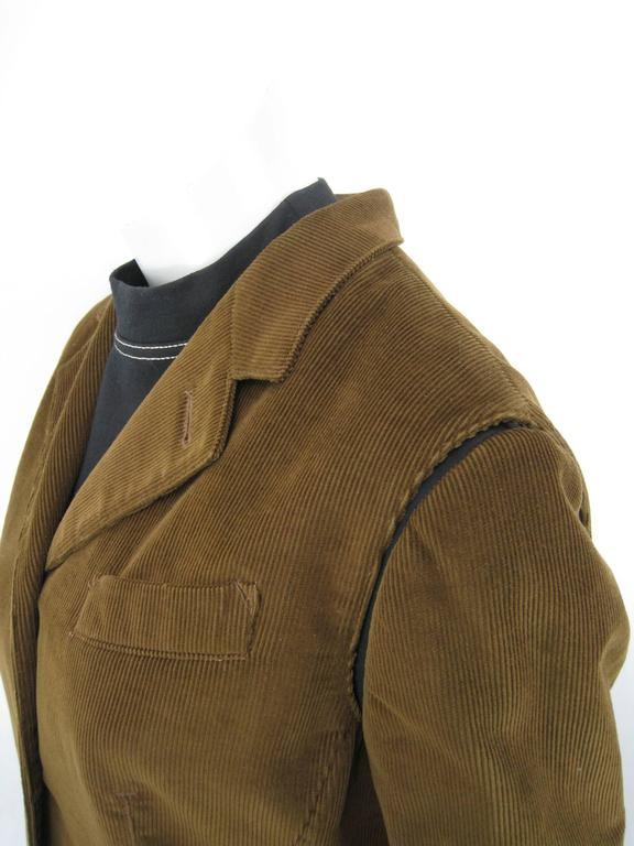 Gaultier Junior Brown Corduroy 2 Piece Mock Jacket Shirt and Vest For Sale 2
