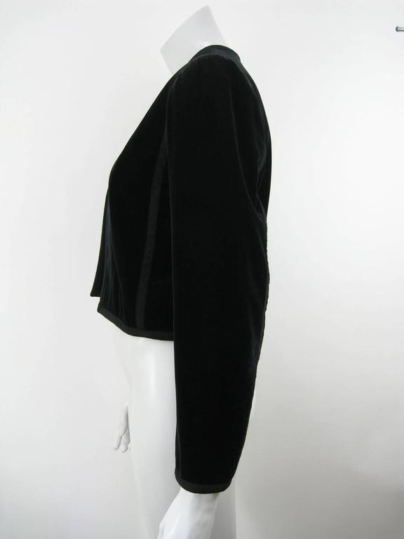 Yves Saint Laurent Rive Gauche Black Velvet Bolero Jacket For Sale 1