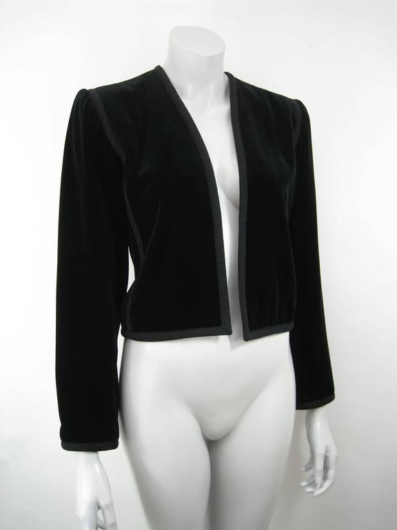 YSL Rive Gauche black velvet cropped jacket.