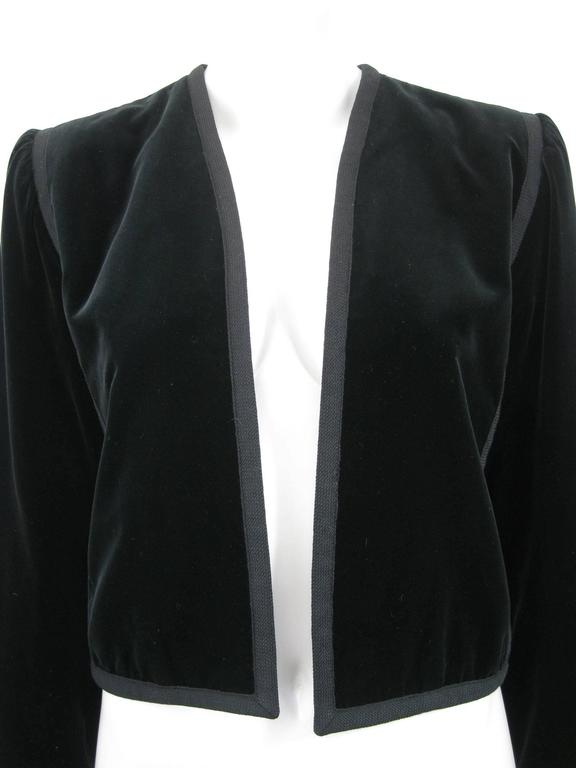 Yves Saint Laurent Rive Gauche Black Velvet Bolero Jacket In Excellent Condition For Sale In San Francisco, CA