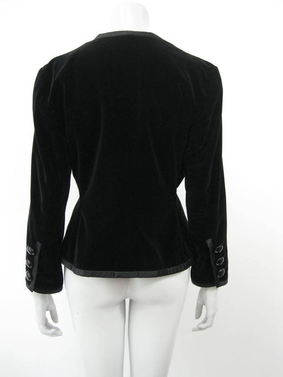 Yves Saint Laurent Rive Gauche Black Velvet Evening Jacket For Sale 2