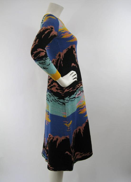 7365602b02 Stunning Alley Cat sweater dress by Betsey Johnson. Circa 1970 s. Vibrant  sunset hues.