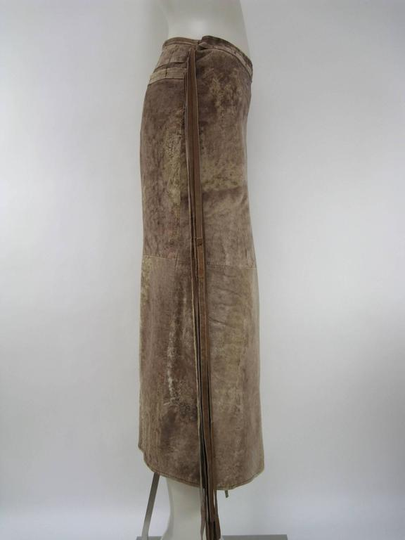 Ann Demeulemeester Distressed Weathered Leather Wrap Skirt In Good Condition For Sale In San Francisco, CA