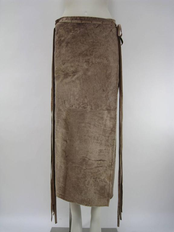 Ann Demeulemeester Distressed Weathered Leather Wrap Skirt 2