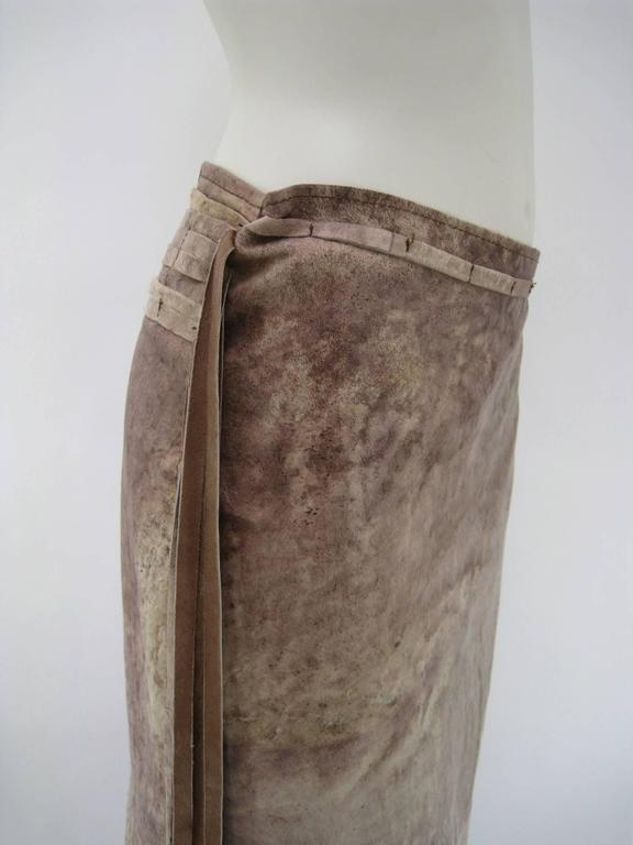 Women's Ann Demeulemeester Distressed Weathered Leather Wrap Skirt For Sale