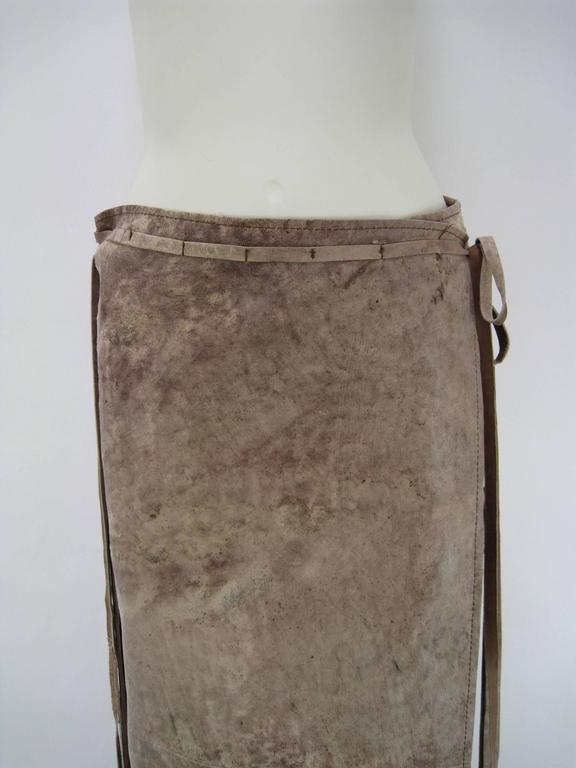 Brown Ann Demeulemeester Distressed Weathered Leather Wrap Skirt For Sale
