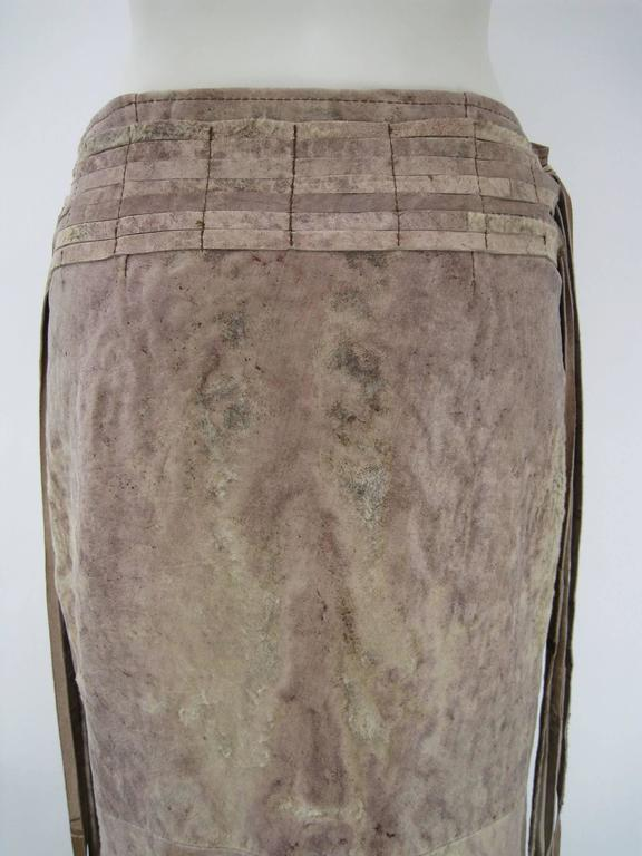Ann Demeulemeester Distressed Weathered Leather Wrap Skirt For Sale 3