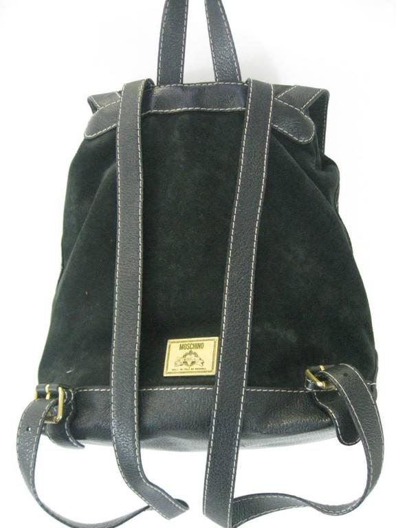 Moschino Black Suede Leather Backpack with Charms 4