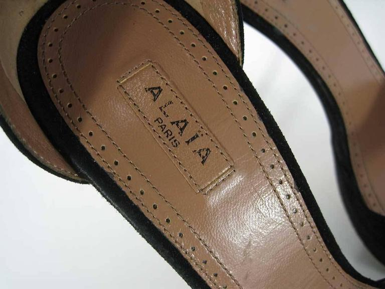 Alaia Black Suede Platform with Fringe Cuff 39.5 For Sale 1
