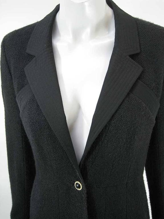 Chanel 2002 Black Silk Boucle Coat In Excellent Condition For Sale In San Francisco, CA