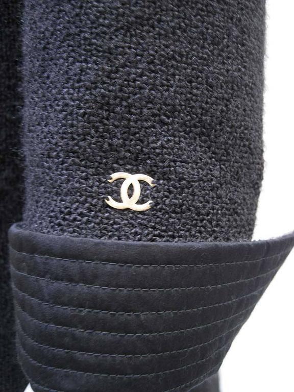 Women's Chanel 2002 Black Silk Boucle Coat For Sale