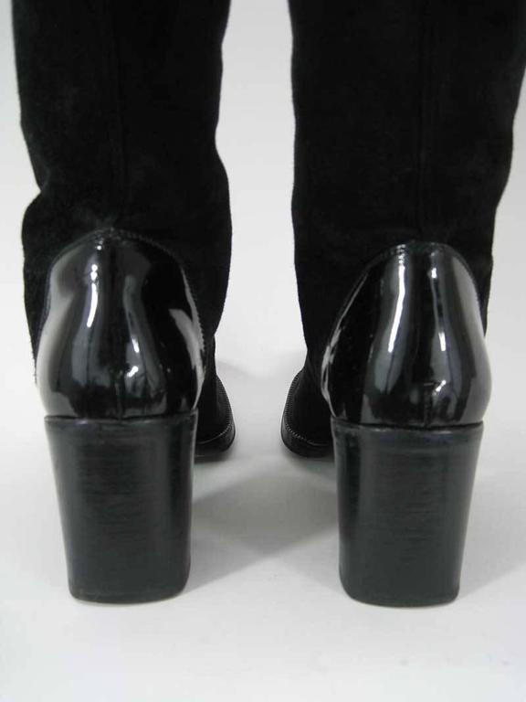 Chanel Tall Black Suede and Leather Block Heel Boots  For Sale 1