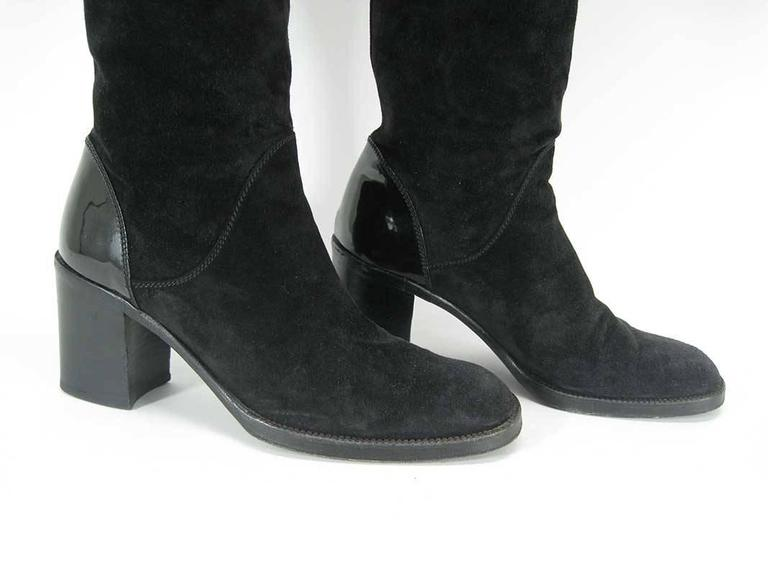 Chanel Tall Black Suede and Leather Block Heel Boots  For Sale 2