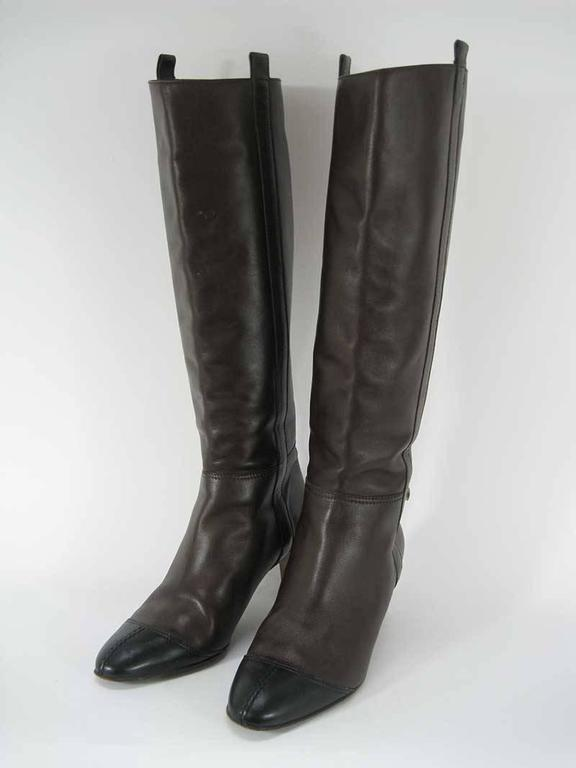 Chanel Tall Brown and Black Leather Boots  In Fair Condition For Sale In San Francisco, CA