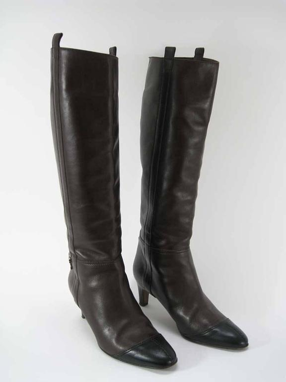 Chanel Tall Brown and Black Leather Boots  For Sale 1