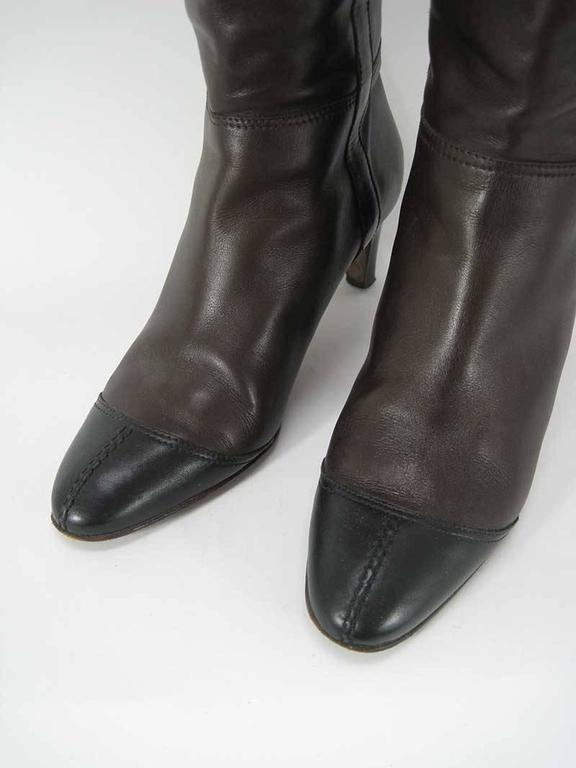 Chanel Tall Brown and Black Leather Boots  For Sale 3