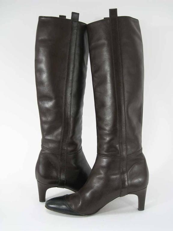 Chanel Tall Brown and Black Leather Boots  For Sale 2