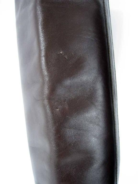 Chanel Tall Brown and Black Leather Boots  For Sale 6