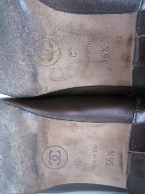 Chanel Tall Brown and Black Leather Boots  For Sale 4
