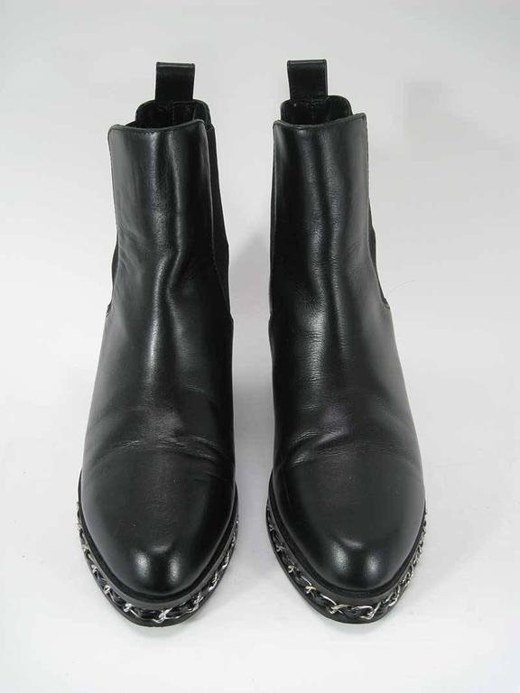 Women's Chanel Black Leather Chelsea Boots with Chain Detail