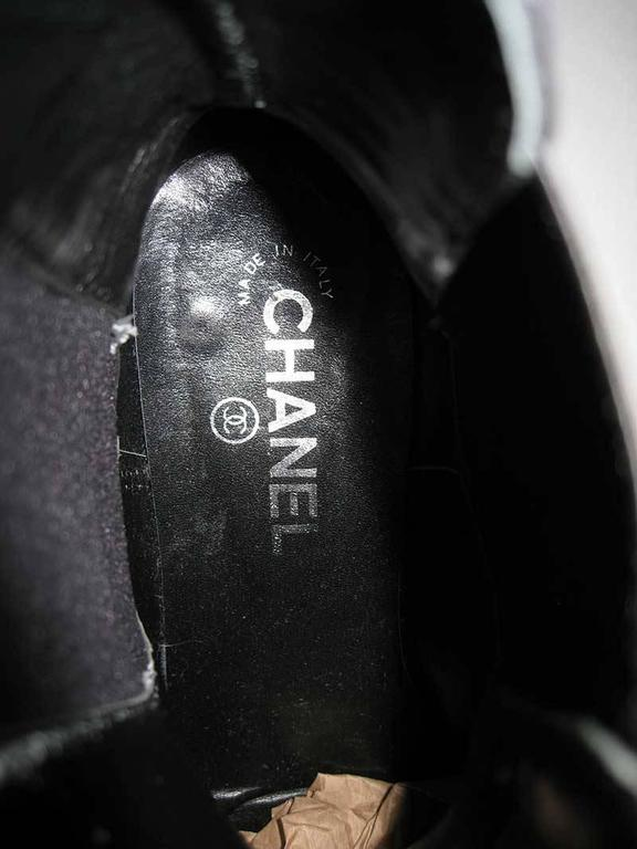 Chanel Black Leather Chelsea Boots with Chain Detail 4