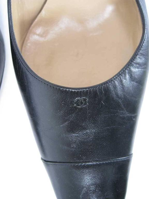 Chanel Black Leather Mid Heel Slingback Heels For Sale 1