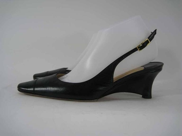 Chanel Black Leather Mid Heel Slingback Heels For Sale 2