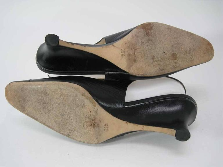 Chanel Black Leather Mid Heel Slingback Heels For Sale 3