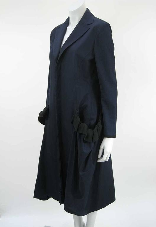 Black Yohji Yamamoto +Noir Navy Coat with Oversize Pockets For Sale