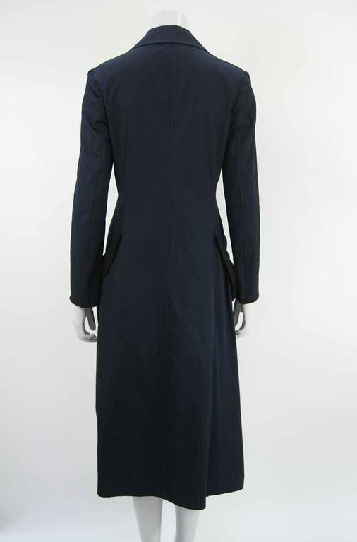 Women's Yohji Yamamoto +Noir Navy Coat with Oversize Pockets For Sale