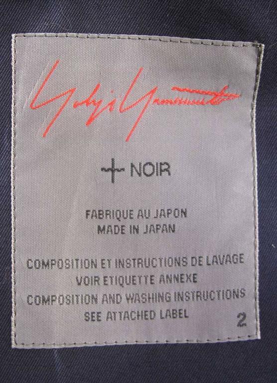 Yohji Yamamoto +Noir Navy Coat with Oversize Pockets For Sale 1
