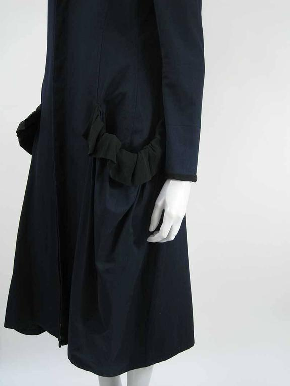 Yohji Yamamoto +Noir Navy Coat with Oversize Pockets In Excellent Condition For Sale In San Francisco, CA