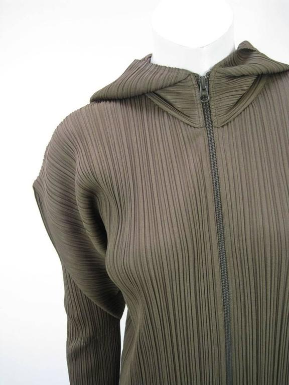 Black Issey Miyake Pleats Please Hooded Coat For Sale