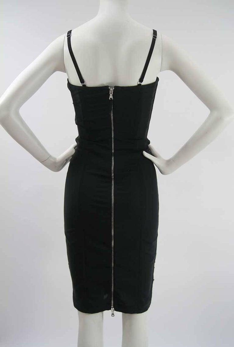 Dolce & Gabbana D&G Black and Gray Ruched Corset Dress  4