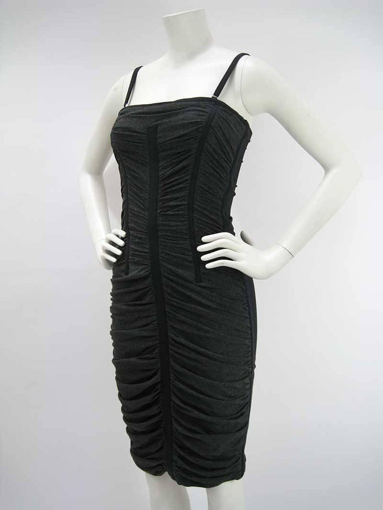 Dolce & Gabbana D&G Black and Gray Ruched Corset Dress  5