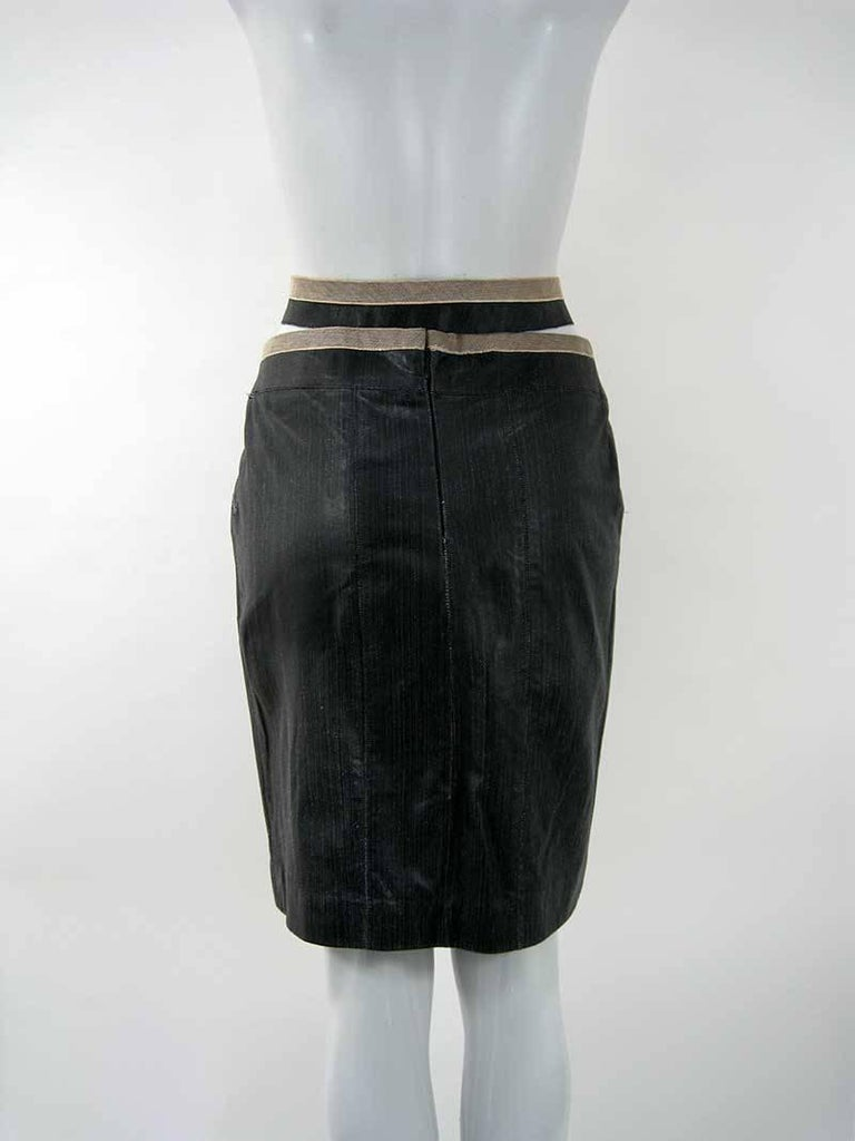 Chanel Textured Calf Skin Wrap Waist Skirt 4
