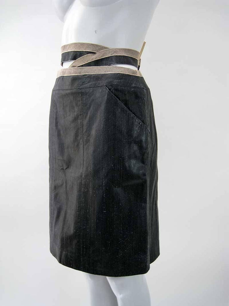 Chanel Textured Calf Skin Wrap Waist Skirt 2
