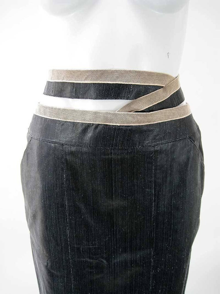 Chanel Textured Calf Skin Wrap Waist Skirt 5