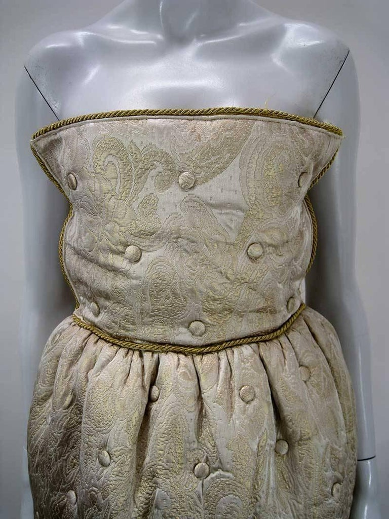 Dolce & Gabbana D&G Gold Quilted & Tufted Brocade Cocktail Dress In Excellent Condition For Sale In San Francisco, CA