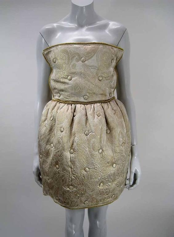 Brown Dolce & Gabbana D&G Gold Quilted & Tufted Brocade Cocktail Dress For Sale