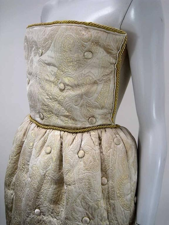 Women's Dolce & Gabbana D&G Gold Quilted & Tufted Brocade Cocktail Dress For Sale