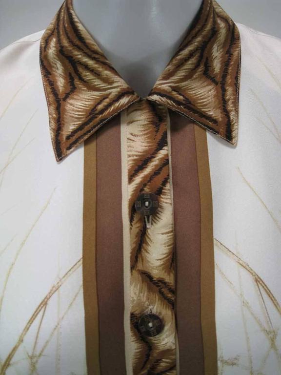 Brown Escada Silk Tiger Face Scarf Print Blouse For Sale