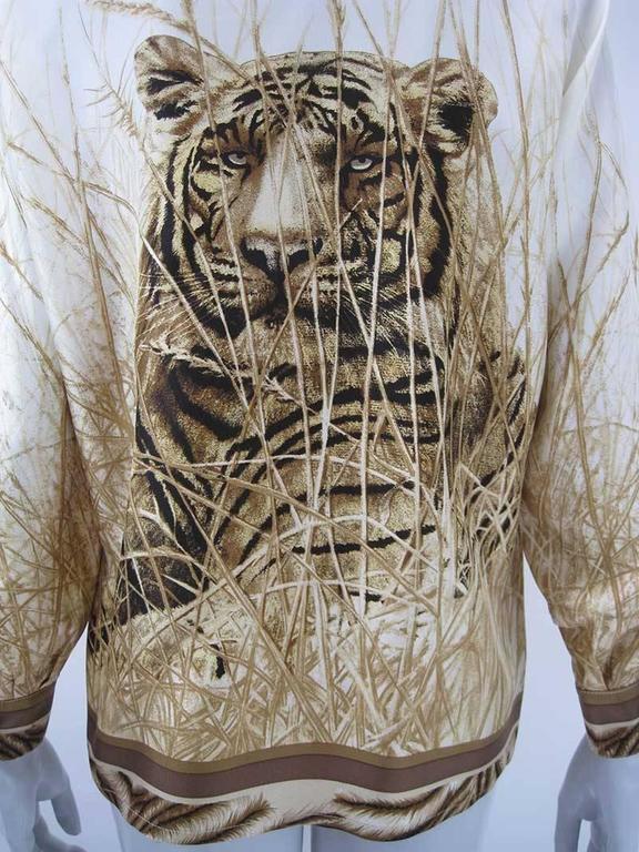Escada Silk Tiger Face Scarf Print Blouse For Sale 1