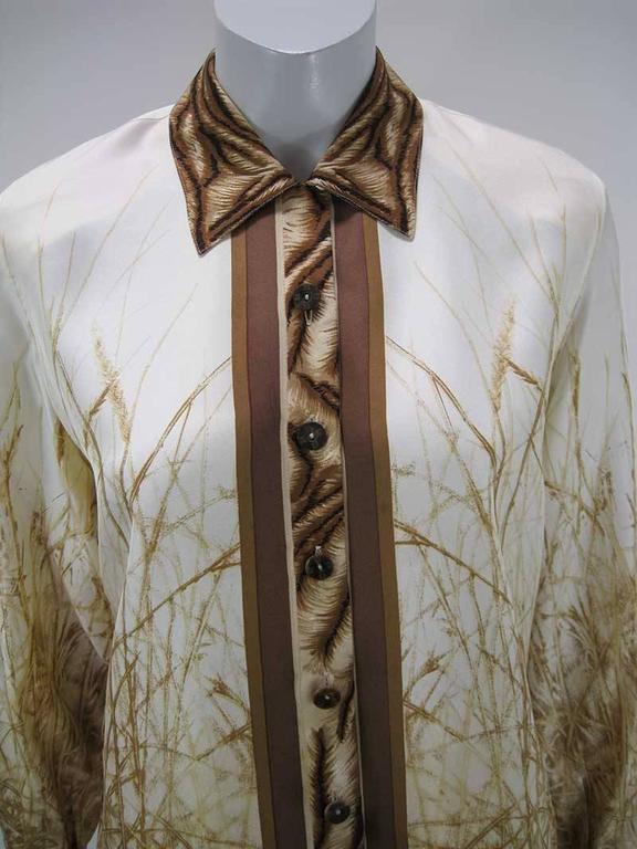 Escada Silk Tiger Face Scarf Print Blouse In Excellent Condition For Sale In San Francisco, CA
