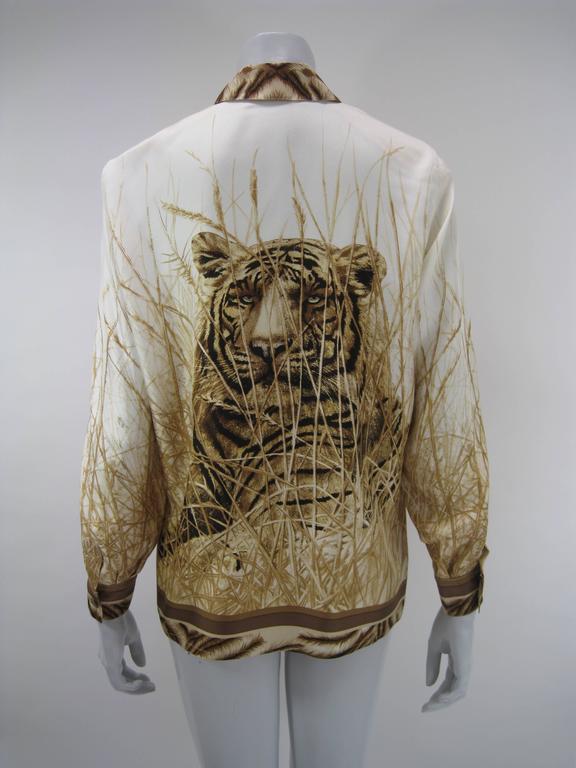 Escada Silk Tiger Face Scarf Print Blouse For Sale 3