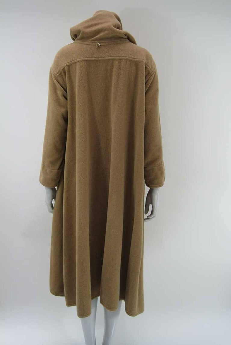 Women's or Men's Rare Vintage Kenzo Fleece Oversize Hooded Camel Overcoat  For Sale