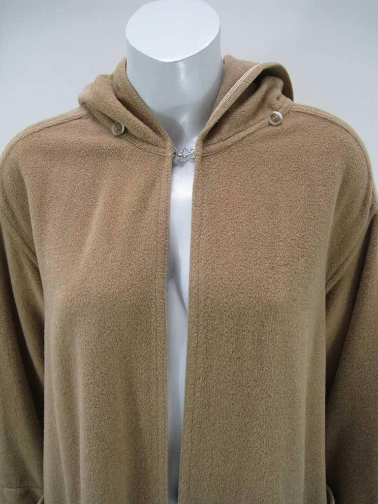 Rare Vintage Kenzo Fleece Oversize Hooded Camel Overcoat  In Good Condition For Sale In San Francisco, CA