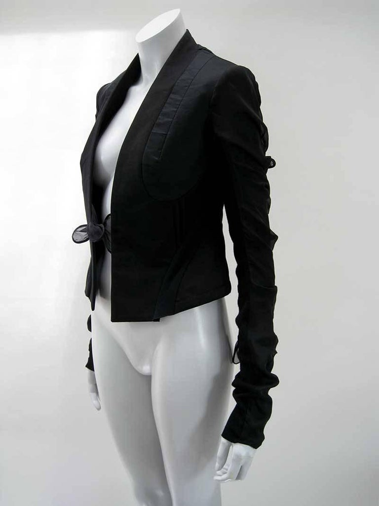 Rick Owens Multi Tie Cropped Avant Garde Structured Jacket In Excellent Condition For Sale In San Francisco, CA
