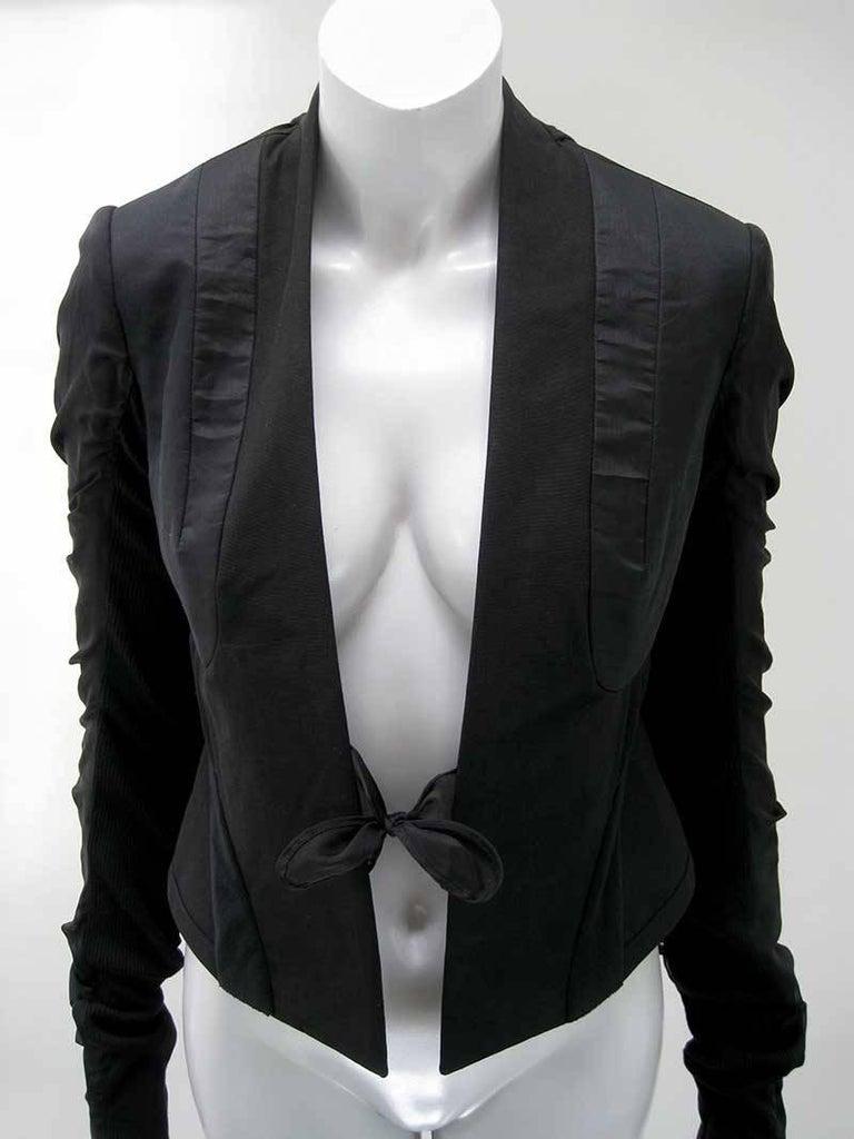 Black Rick Owens Multi Tie Cropped Avant Garde Structured Jacket For Sale