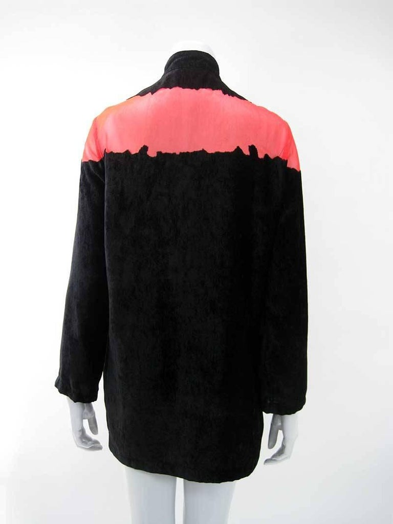 Yohji Yamamoto Noir Black & Red Crushed Velour Blazer  For Sale 2